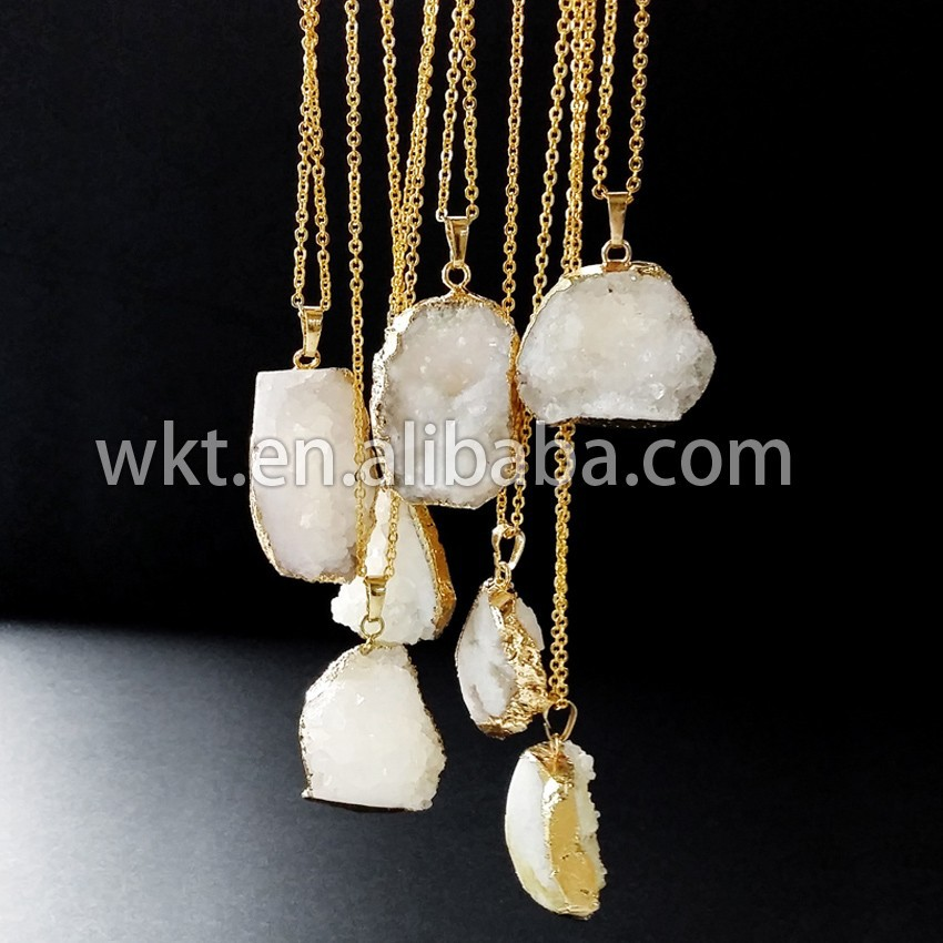 Natural crytal quartz druzy quartz necklace, white druzy crystal quartz necklace WT-N337
