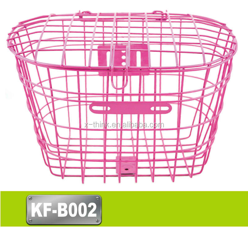 Good Quality steel wicker plastic bicycle front basket