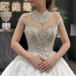 Luweiya luxurious  long sleeve crystal beaded  bridal gown ball gown dresses  muslim woman wedding dress with long train