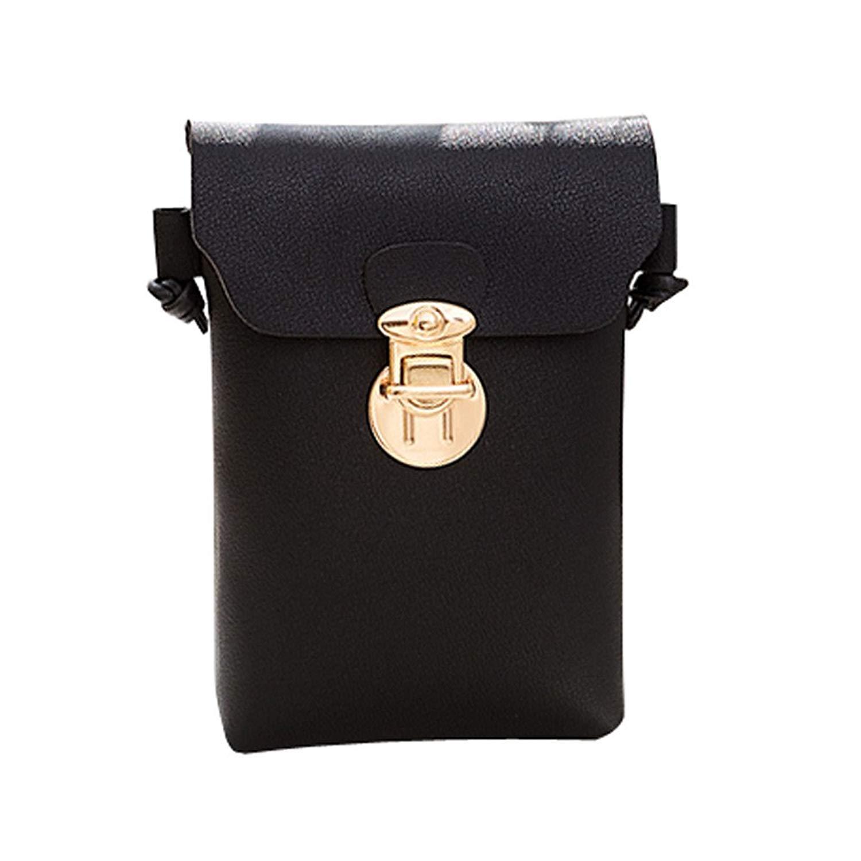 Women Fashion Solid Cover Hasp Crossbody Bag Shoulder Bag Phone Coin Bag Change Pouch Key Holder Faionny