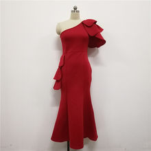 Красное элегантное платье макси с рюшами, женская одежда на одно плечо, праздничное облегающее платье, облегающее сексуальное длинное плат...(Китай)