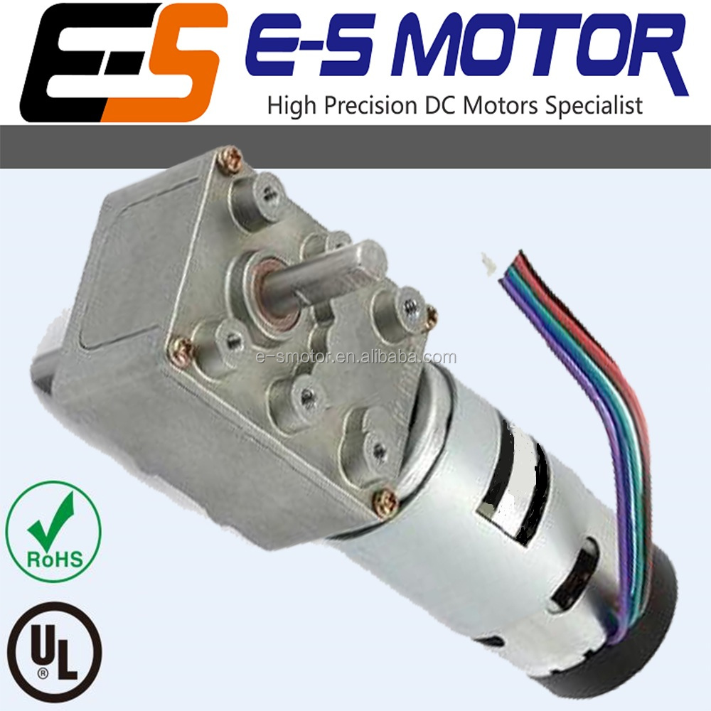 Worm gear motor w/encoder, 37mm, 12/24V, high power