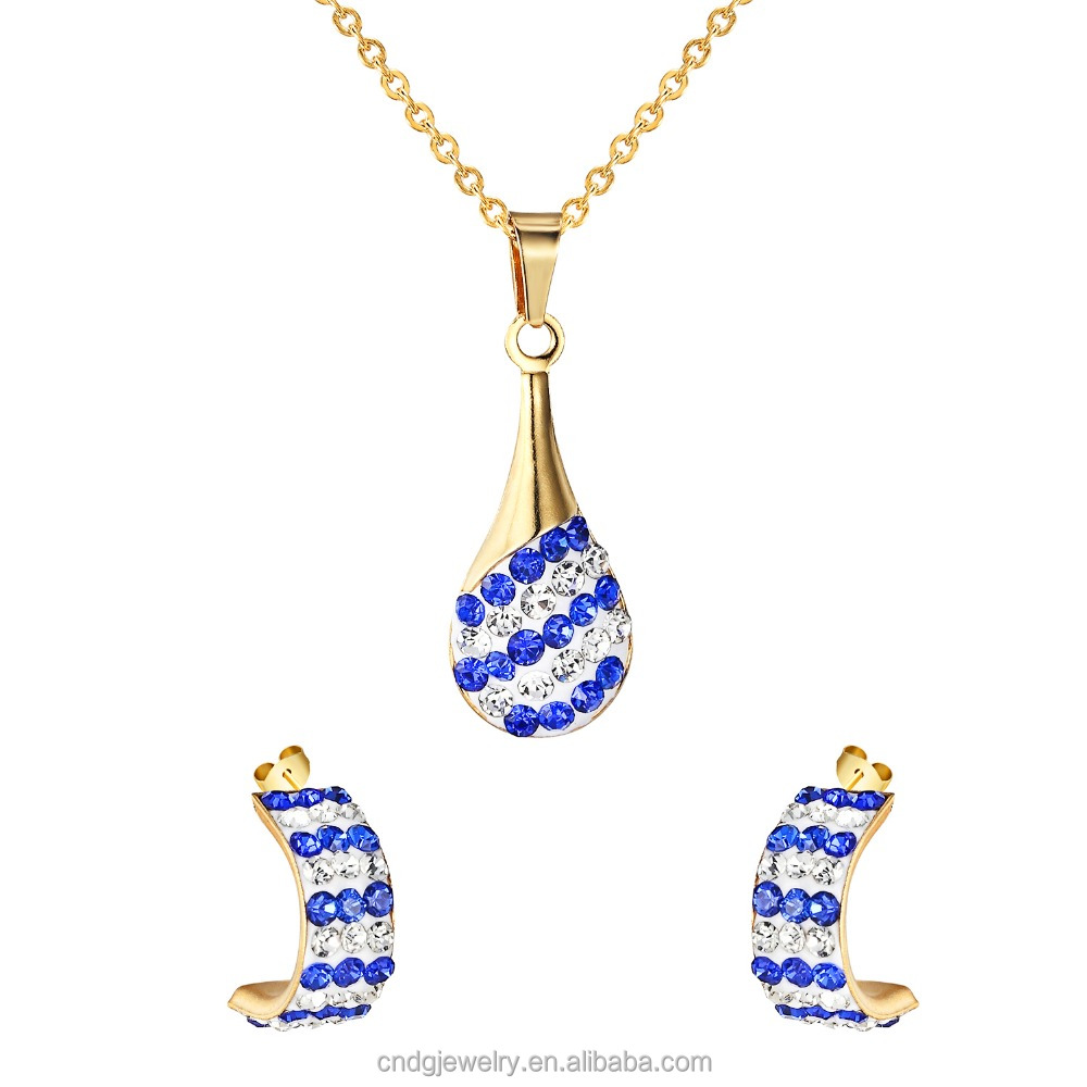 Fashion Jewelry 2017 Alibaba Jewelry Set Diamond Water Drop Necklace with CC Stud Earrings 18K Gold Stainless Steel Jewelry Set
