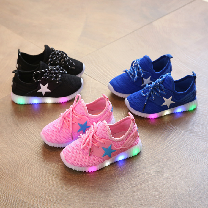 G10026A 2018 fashion Children Sneakers LED Lighting Casual Shoes Lace Up Glowing Kids Baby LED mesh Shoes