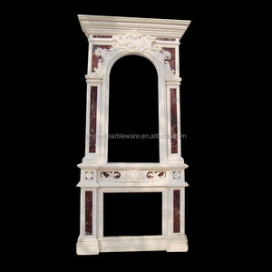 Marble hand carving french fireplace mantel