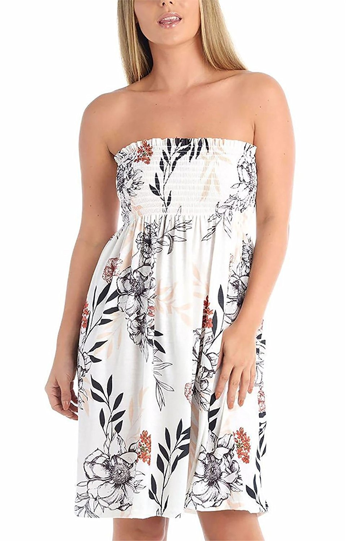 Rimi Hanger Womens Floral Leaf Print Sheering Boobtube Ladies Strapless Fancy Mini Swing Dress Top S/XXL