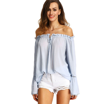 dc778a59c9e85a Women Cute Off The Shoulder 2016 Summer Style New Sexy Tops Casual Shirts  Ladies Light Blue