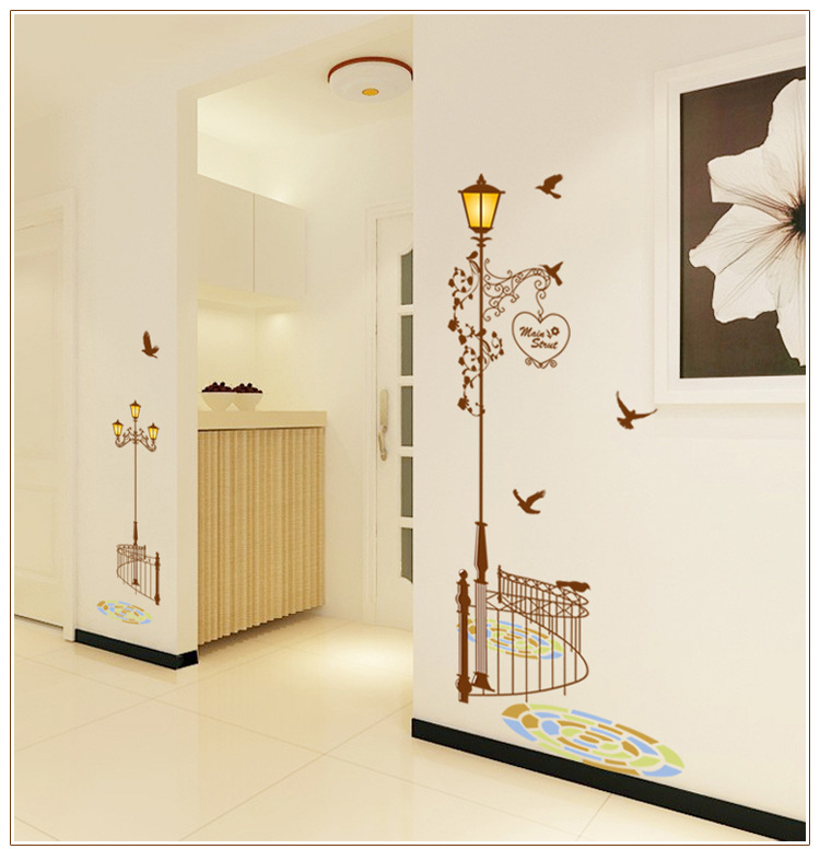 New Beautiful Removable vinyl wall stickers warmly home decorated bedroom wall sticker TV background bird street wall decor