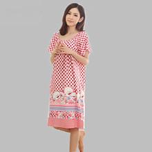 Loose large size nightgowns for women long cartoon girls nightwear nightdress cotton and silk sleepshirt summer dress Q623