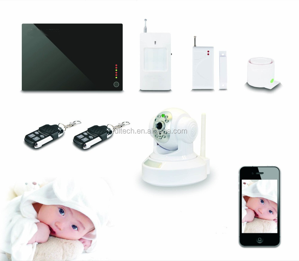 FDL-wireless Telephone Home Burglar Alarm with Wireless Door/Motion Sensor and Remote Control ip camera