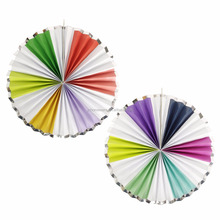 gold or silver foiled paper fan pinwheel hanging party decoration