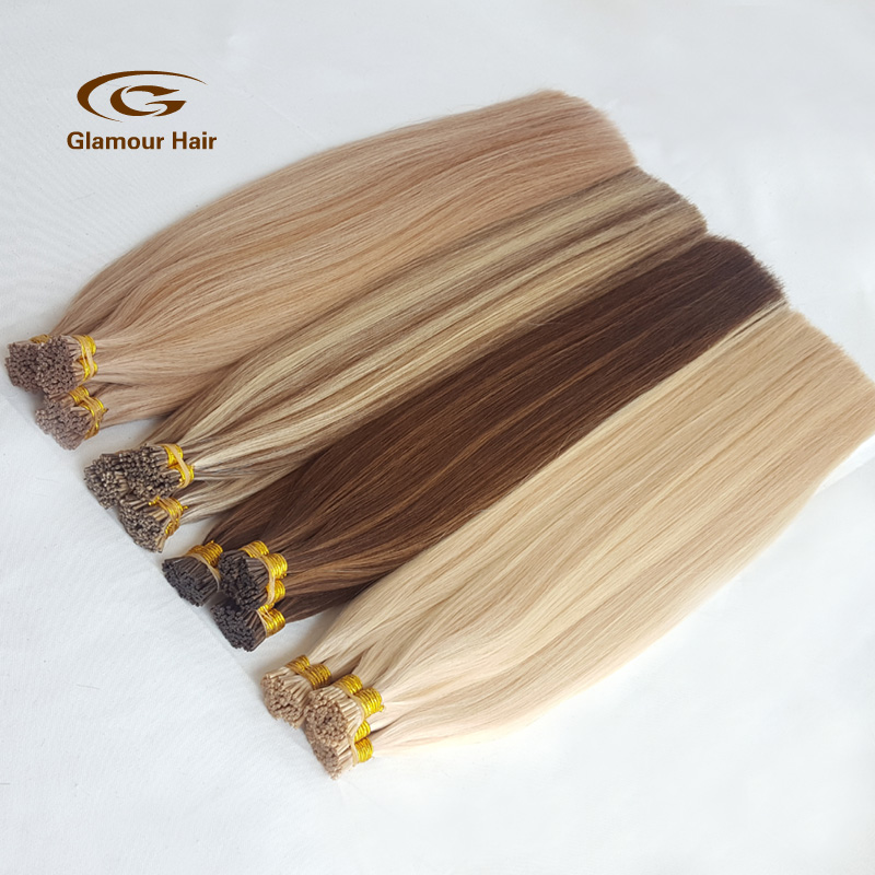 ba0c62f4 100% human hair high quality popular cheap wholesale 0.5/0.8/1.0g 8a grade  virgin russian hair i tip blond