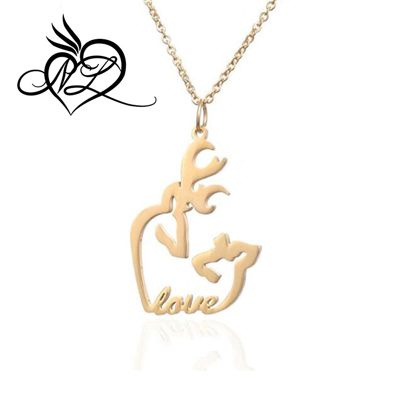Choker Necklace Women Love Wine Heart Fashion Christmas Deer Pendants Jewelry Gift Rose Gold Gold Silver