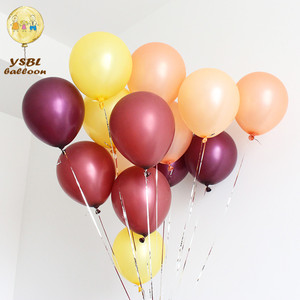 Crimson 12inch metallic pearl latex plain inflatable festival decorating balloon