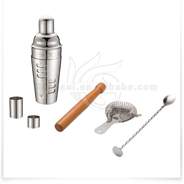 6 stücke Bartender Kit Bar Tool Set Getränk Mischen Holz Rezepte Cocktail Shaker Siebe Löffel Jigger Muddler Bar Set