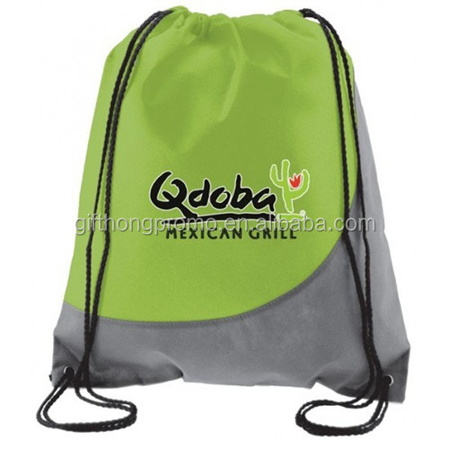 Zippered front pocket non-woven drawstring bag with two-tone design