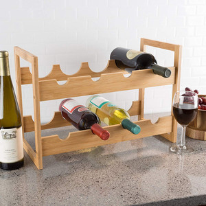 Bamboo Display Shelves Wine Rack 3 Bottles Holder Stackable Storage