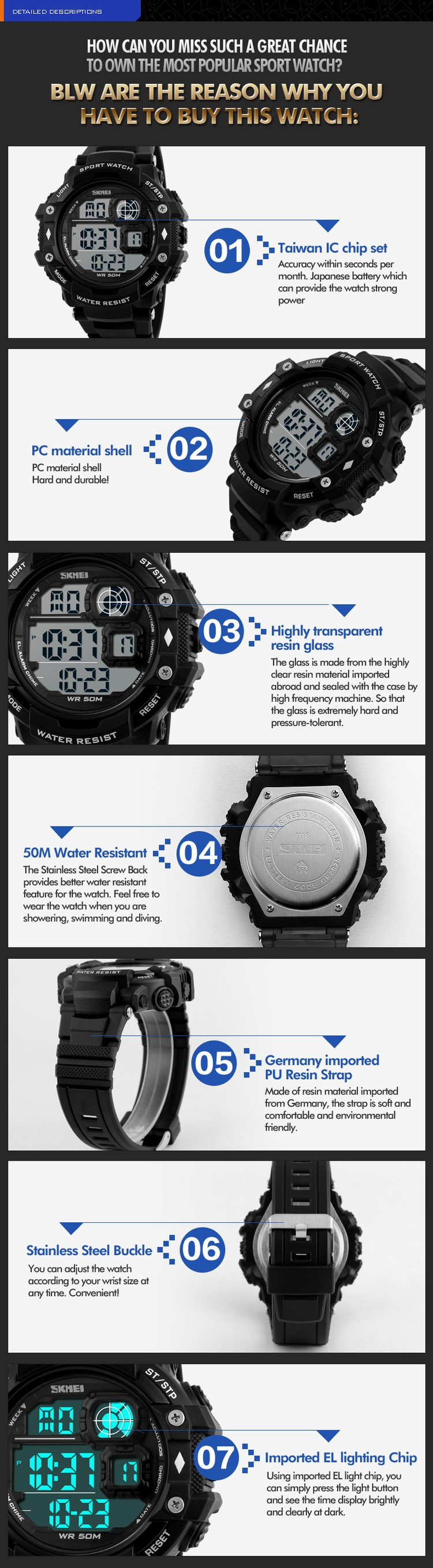 2016 most popular skmei sport wristwatch digital