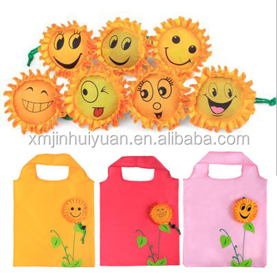 Customize Logo 190T <strong>Nylon</strong>/Oxford Sunflower Eco Friendly Foldable Lovely Smiling Face Reusable Folding Shopping Bag