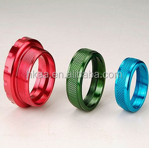 cnc machined parts color anodized knurled aluminum locking ring , knurled spacer ring