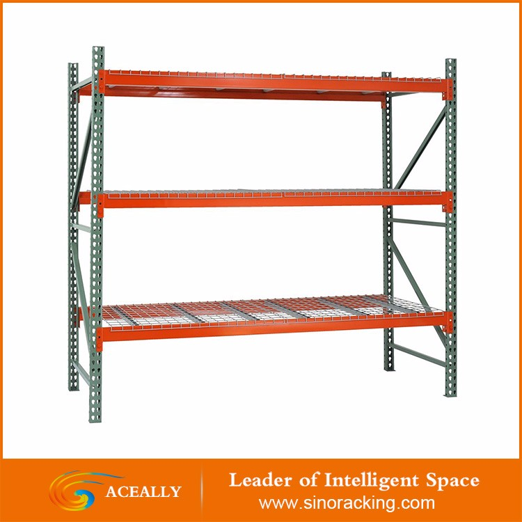 Aceally steel adjustable teardrop pallet racking with wire mesh decking