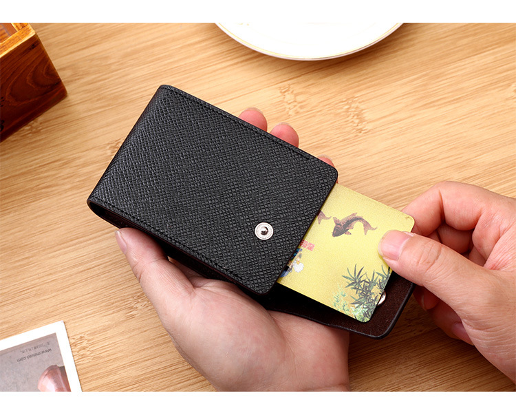 High quality Custom slim PU leather RFID Blocking business Card Holder Wallet