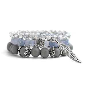 BOJIU Bohemian Jewelry Flower Leaf Charm Bracelet For Women Matte Grey Natural Stone Beads Bracelet Christmas Jewelry