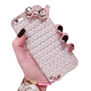 Luxury Diamond pearl mobile phone case for iphone Silicone cell phone back cover with lanyard