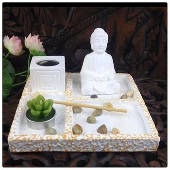 White Buddha Mini Zen Garden Asian Japanese Fengshui Zen Garden
