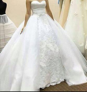 FA01 White A Line Sweetheart Ball Gown Organza Skirt Wedding Dress Customized Made Vestidos De Novias
