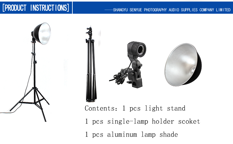 Photography studio aluminum lamp shade with e27 single lamp head photography studio aluminum lamp shade with e27 single lamp head socket and light stand mozeypictures Images