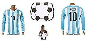 55846b4dbb4 Get Quotations · Argentina Home Messi Kids  10 Soccer Kit Long Sleeve Jersey  and Shorts All Youth Sizes