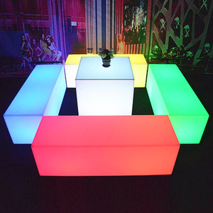 coffee table 67*h40 square led diode glow stick ice cube