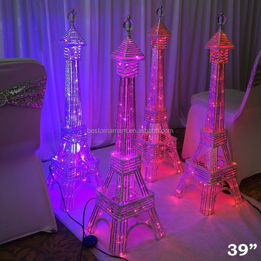 "39"" tall LED Lights Eiffel Tower Centerpiece For Wedding Party Home Decorations"