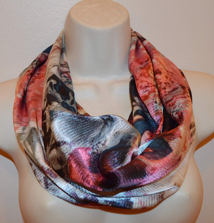 printed infinity scarf, orange loop, women/girl infinity scarf, spring scarf, summer scarf, fall scarf