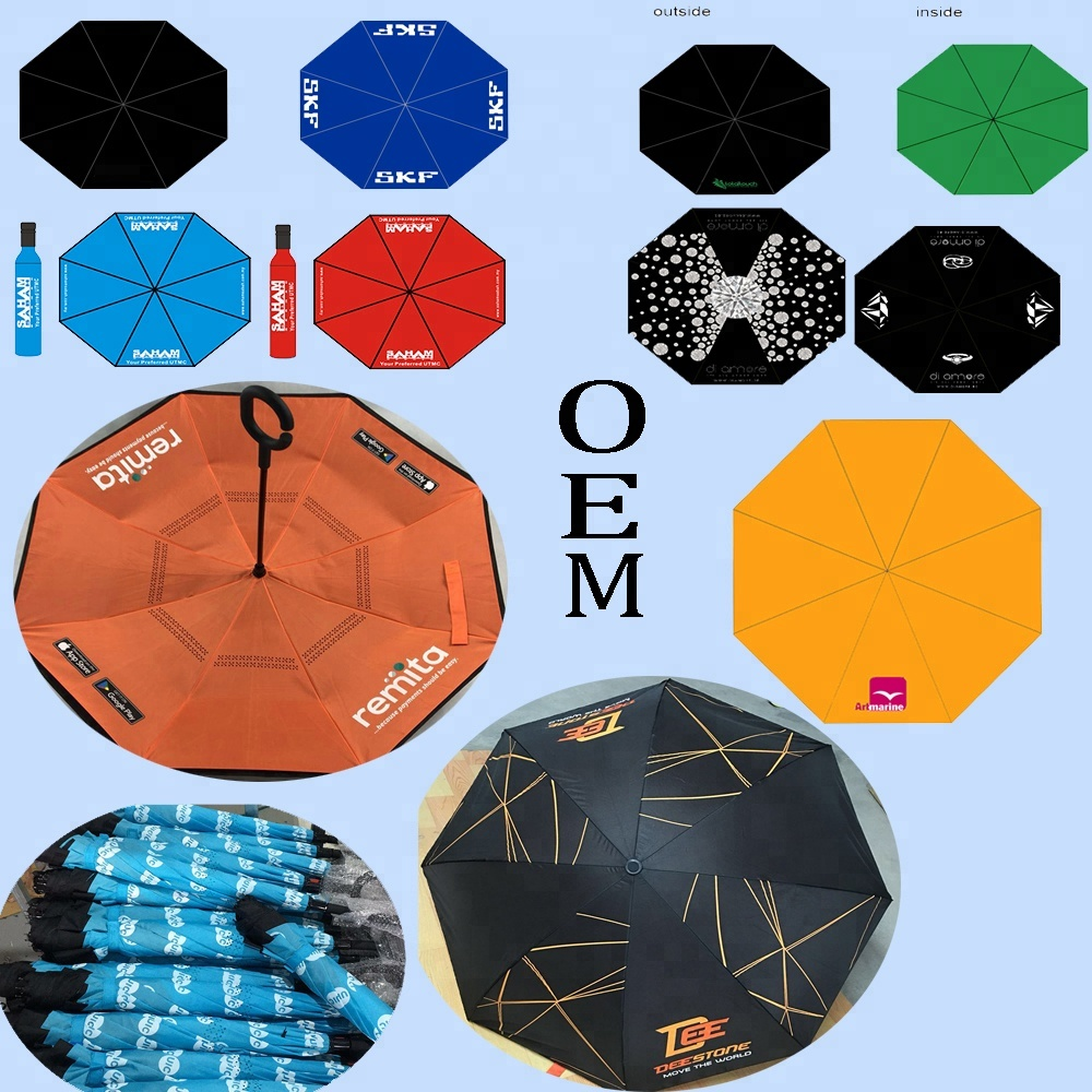 מותאם אישית לוגו חדש צורת חיצוני נסיעות תרמיל אוטומטי הפוך 3 קיפול מטרייה