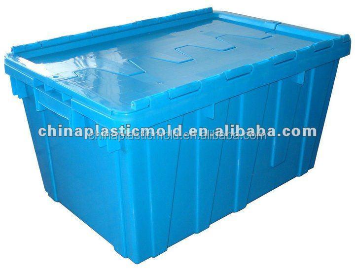 מפוארת ארגז אחסון מתקפל פלסטיק מצורף מכסה 60 ליטר-ארגזי-מספר זיהוי מוצר WQ-49