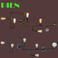 Vintage Retro Water Pipe Industrial sconces wall lamp with 5pcs 4W ST64 Bulbs 120V 240V Free shipping