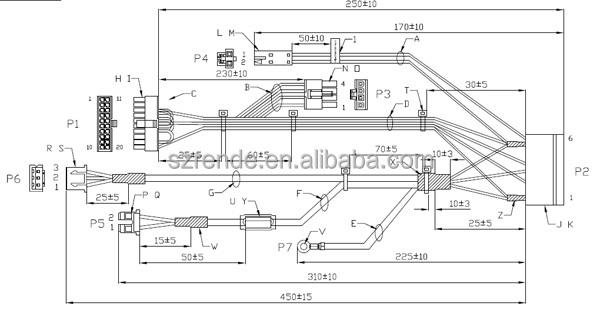 ferrite core cable industrial molex wire harness for laser