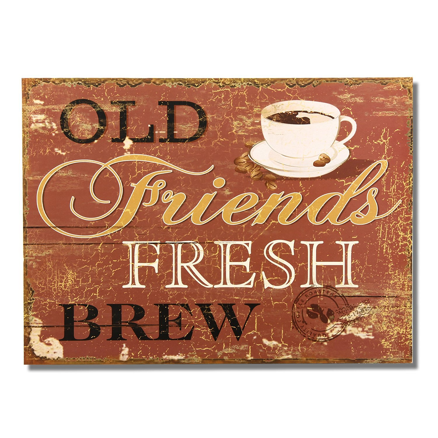 "Adeco Decorative Wood Wall Hanging Sign Plaque ""Old Friends Fresh Brew"" Brown Gold Black Home Decor"