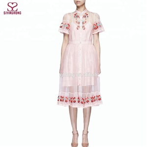 2016 Antique satin-stitched ribbons Floral embroidery Silk organza dress