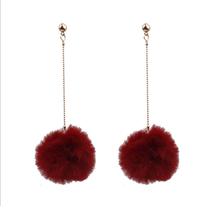 Fashion Colorful Pom Pom Earring Wholesale Winter Earring