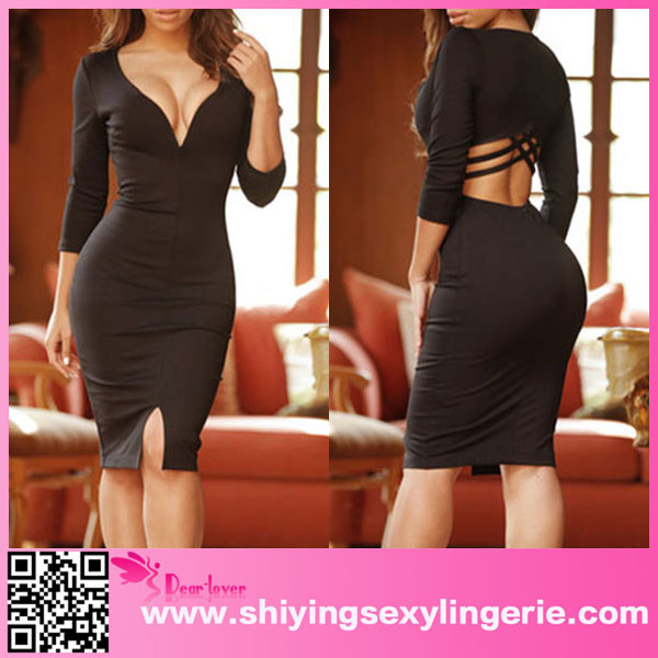 2016 New Fashion Black Sexy V Neck Sleeved Bodycon Midi Dress beaded evening dresses indian