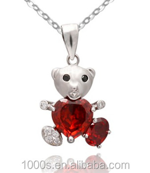 Wholesale kids jewelry 925 sterling silver cute baby bear pendant wholesale kids jewelry 925 sterling silver cute baby bear pendant with red zircon stone for children aloadofball Images