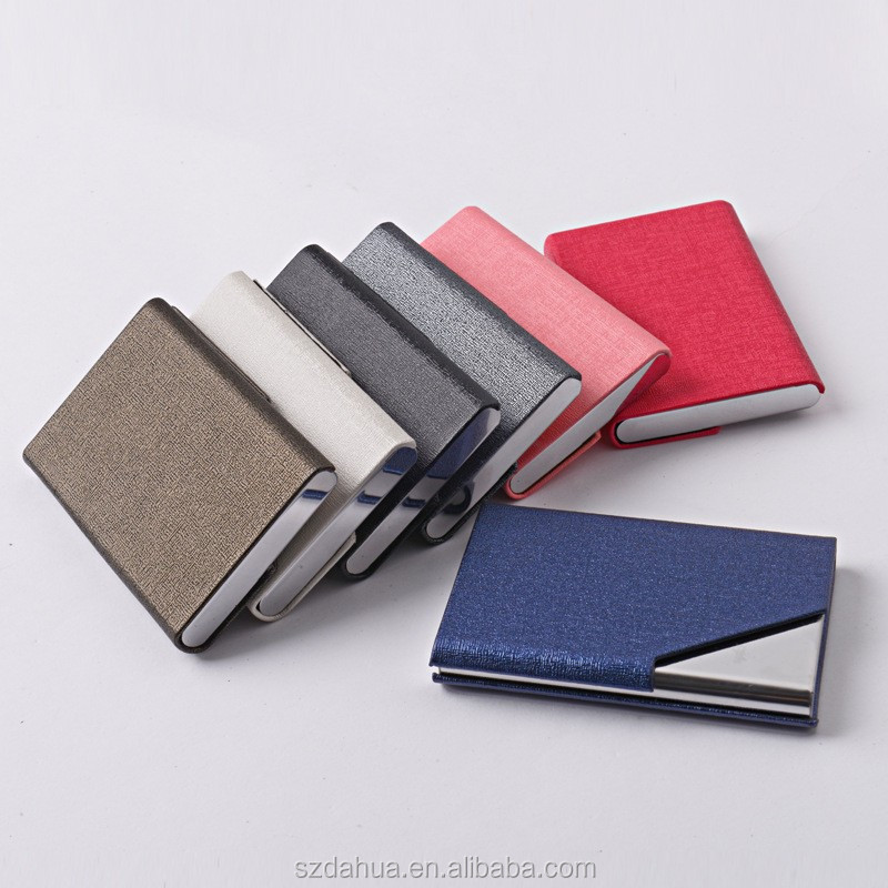 Shenzhen Dahua Stainless Steel Black Leather Magnetic Business Card Holder With Low Price
