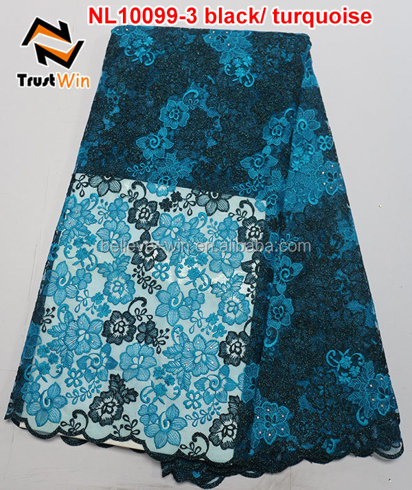 black turquoise african french lace tulle lace embroidered fabric with stone nl10099