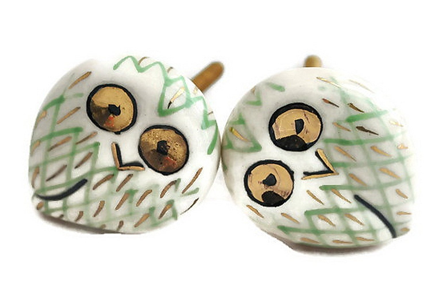 StarZebra Set of 2 - Handmade Hand-painted Ceramic Knobs & Pulls - Decorative Handles for Cabinets/Dressers/Drawers - Home Decor - Jungle Owl