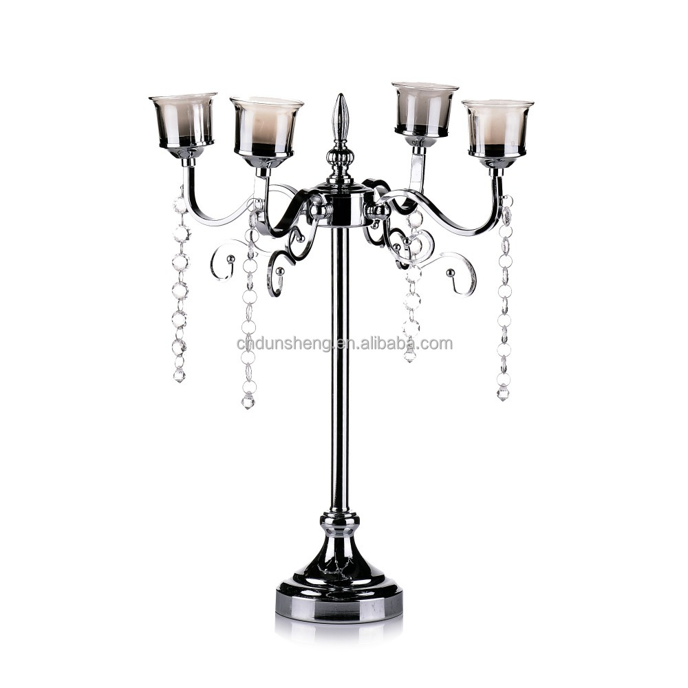 4-arms Iron tree candle holder / Metal tree branch candle stand / Silver plated candlesticks