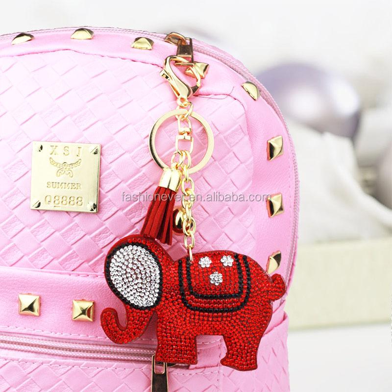 Handmade Elephant Charms Keyring Crystal Bag Pendant Key Chain Keychain Bling Handbag Accessories Rhinestone Initial Keychains