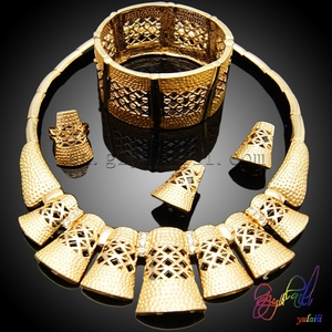 Dubai shield shape jewelry setMan desirable jewelry set 22k gold rings earrings necklaces bracelets